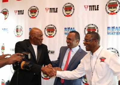 Earnie Shavers, Sugar Ray Leonard and Curtis Hunt