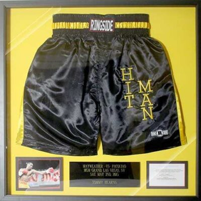 Mayweather vs. Pacquiao Framed Boxing Shorts Fundraiser